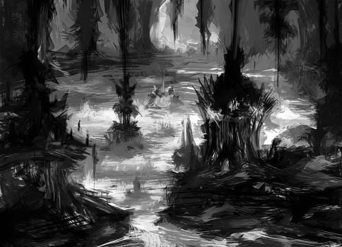 Dysthymia (drow city rough sketch)