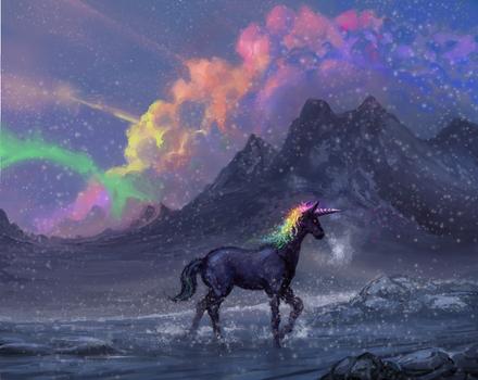 Rainbow Unicorn on a Snowy Day