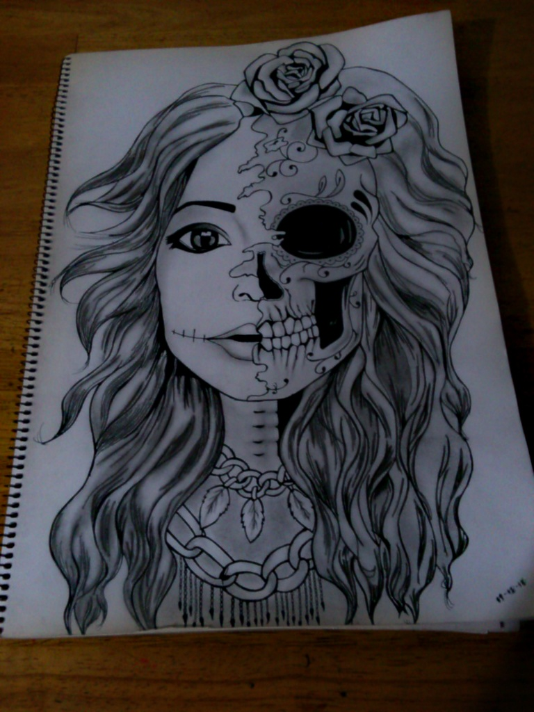 Skeleton Face Line Drawing : Half face skull by iammiyuuho on deviantart
