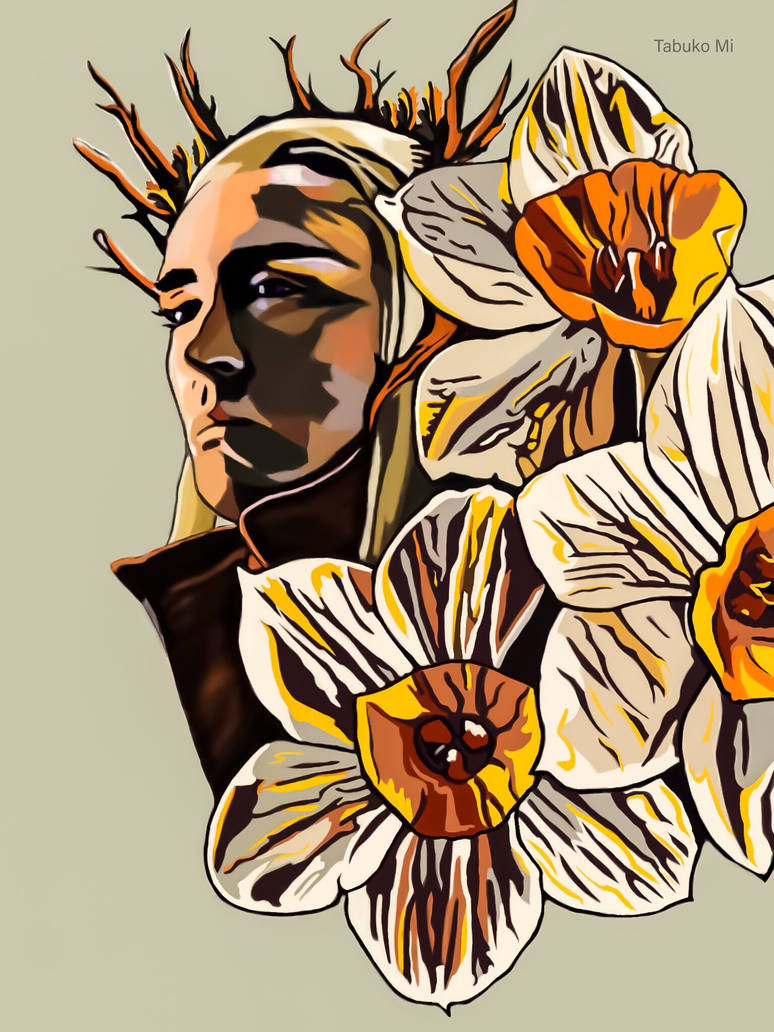 Thranduil with narcissuses  by tabukomi
