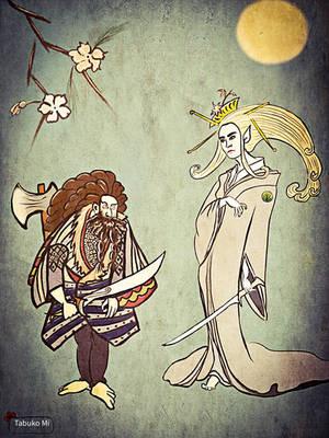 Thranduil and Thorin by tabukomi