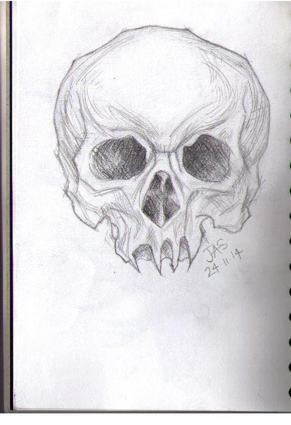 Human skull pencil drawing by sshatf