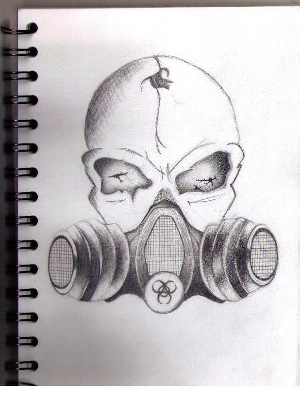 Gas Mask Skull Drawing...