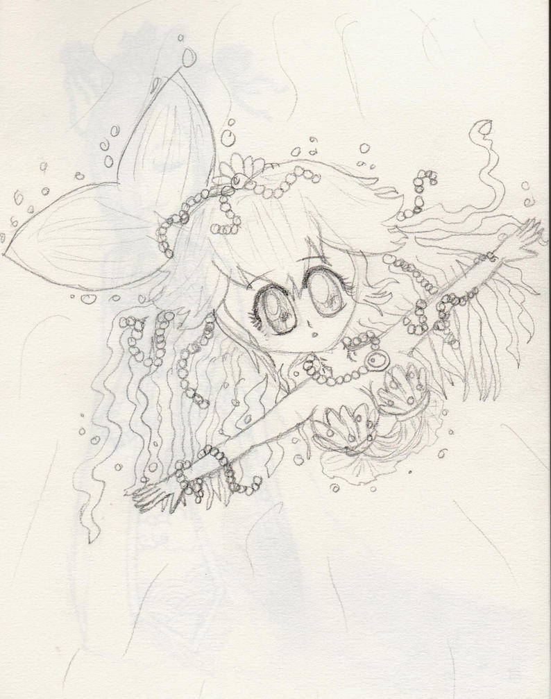 Mermaid Peach - Lineart by lillilotus