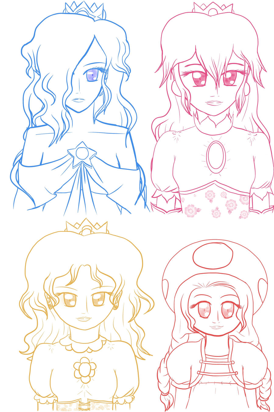 Rosalina Peach Daisy Toadette Doodles (occult-ish) by lillilotus