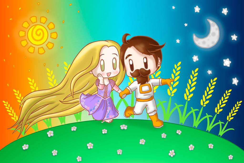 Chibi Sjin and Rapunzel by lillilotus