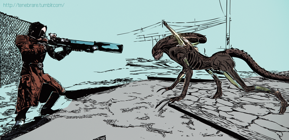 Fallout 4 and  Alien - crossover by operaghost