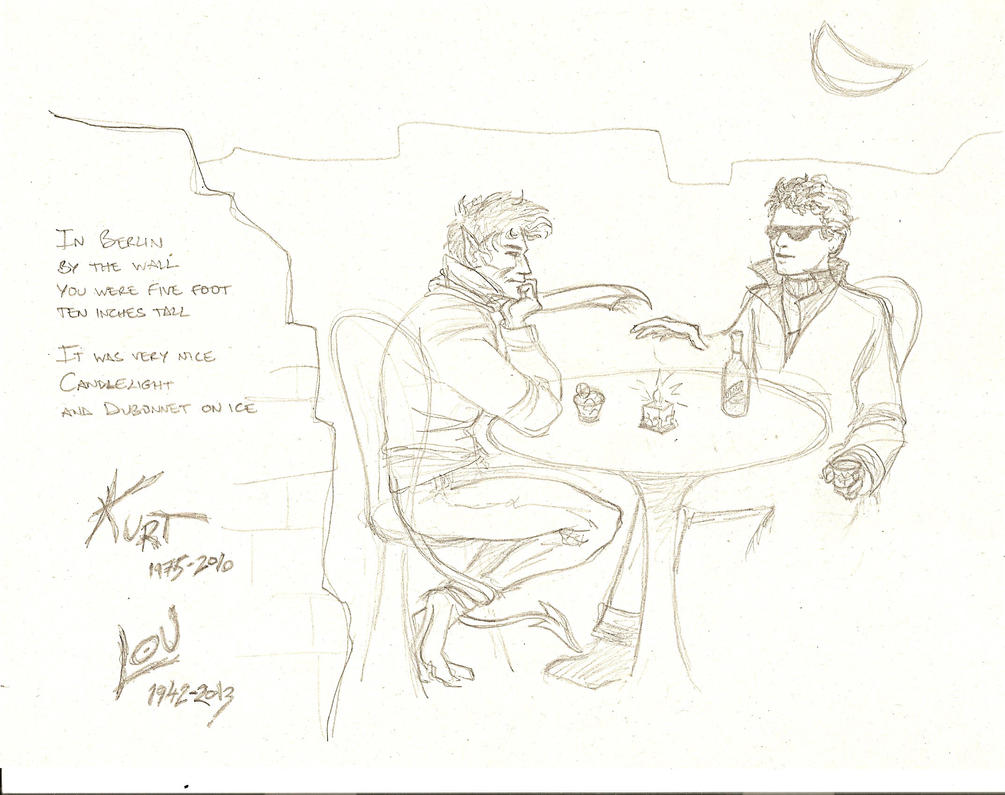 In Berlin by the wall (Kurt and Lou) - 1st doodle by marchhare2