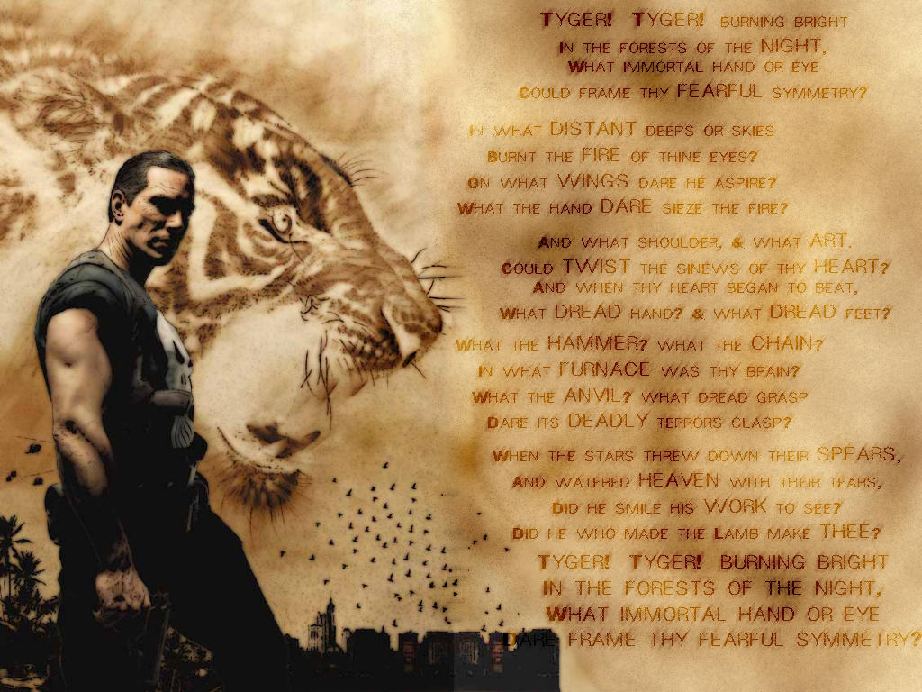 a comparison of william blakes poem the lamb and the tiger The poem clearly works on a metaphorical level: tigers can't burn nights don't   a vehicle (the image used) and a ground (the basis of the comparison)  'the  tyger' from william blake's songs of innocence and experience.