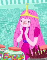 Princess Bubblegum and the Candy Shop by amiima
