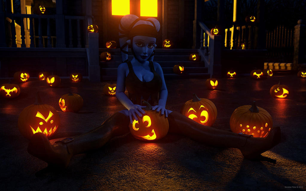 Kondaspeter: Aayla Secura With Jack-o-Lanterns By Kondaspeter1 On