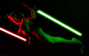 Ahsoka with red and green  lightsabers by kondaspeter1