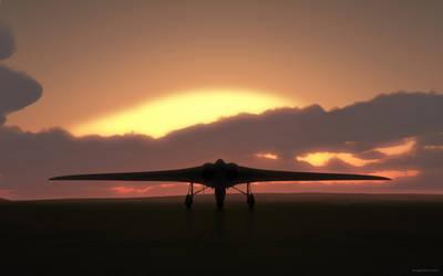 Horten-229 at sunset