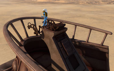 Smurfette with Desert skiff's console