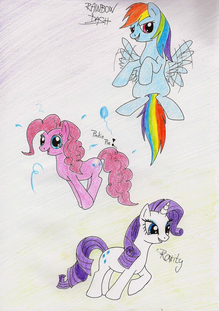 Rainbow, Pinkie, Rarity by IcelectricSpyro