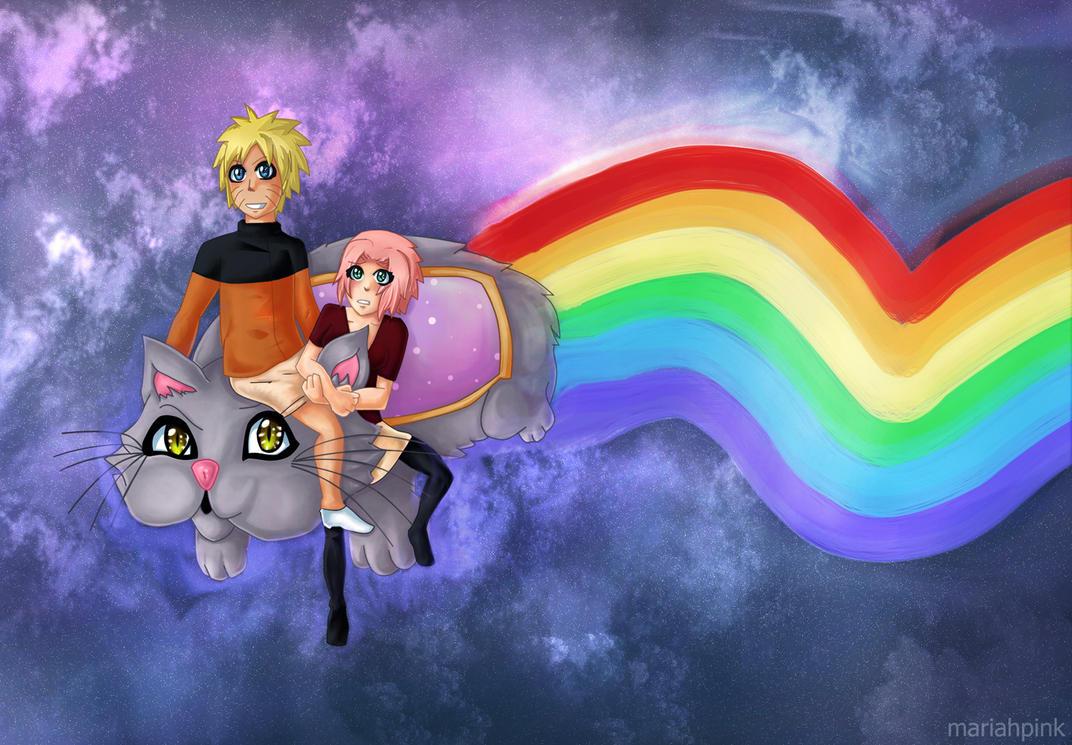 Naruto, Sakura and Nyan Cat by mariahpink