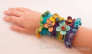 Indian Waterlilies Crochet Wrist Cuff