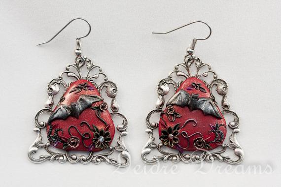 Vampire's Messenger Goth Bat Earrings by DeidreDreams