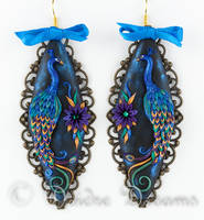 Peacock Magic Polymer Clay Embroidery Earrings