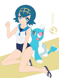 Lineart_Pokemon Lana + Brionne by Orcaleon