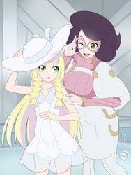 Lineart_Pokemon Lillie and Wicke by Orcaleon