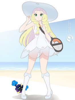 Lineart_Pokemon Lillie and Nebby