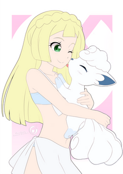 Lineart_Pokemon lillie and Snowy
