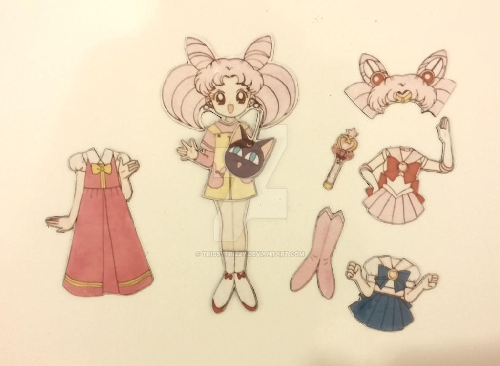 self made chibi moon magnetic paper dolls by trissytrizzy
