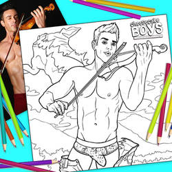 Shirtless Violinist Cheesecake Boy Coloring Page by paulypants