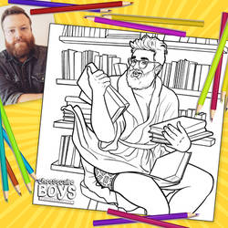 Reading is Sexy Cheesecake Boy Coloring Page by paulypants