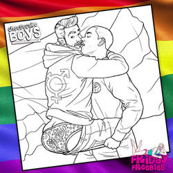 Pride Cheesecake Boys Queer Couple Coloring Page