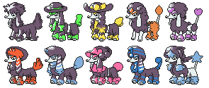 Furfrou GSC Sprites Shiny Colours