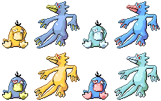 Psyduck Golduck Pixel-overs by Axel-Comics