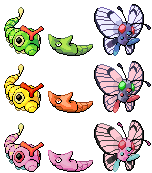 Caterpie Metapod Butterfree Pixel-overs by Axel-Comics