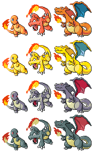 Charmander Charmeleon Charizard Pixel-overs by Axel-Comics