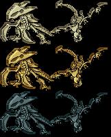 Skeletal Kabutops Aerodactyl Sprites by Axel-Comics