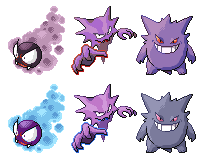 Gastly Haunter Gengar Pixel-overs by Axel-Comics