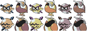 Beta Hoothoot + Noctowl GSC Sprites by Axel-Comics