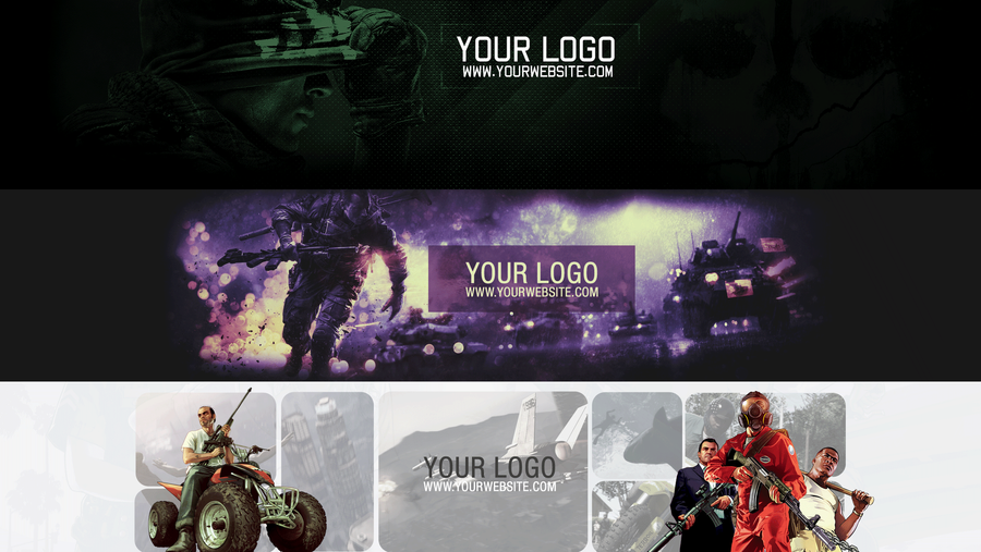 Free youtube one channel banner pack by khkreations on deviantart