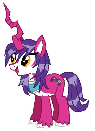 Gamerfox chac female pony unicorn version by Slawterthewolf