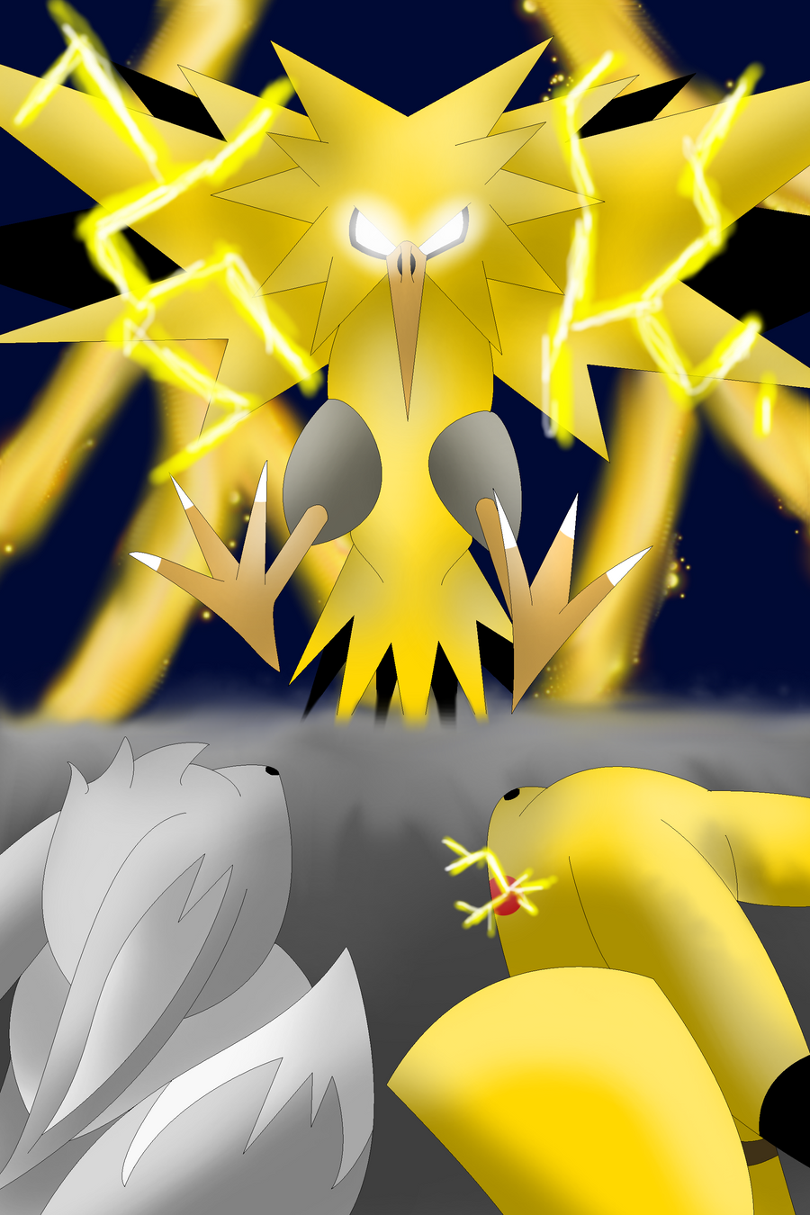 The battle of Zapdos by Libra-Dragoness