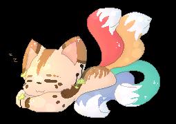 Four tail cat fox dog by Kurubai