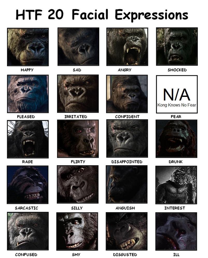 Silliness: King Kong Facial Expressions Meme by SXGodzilla