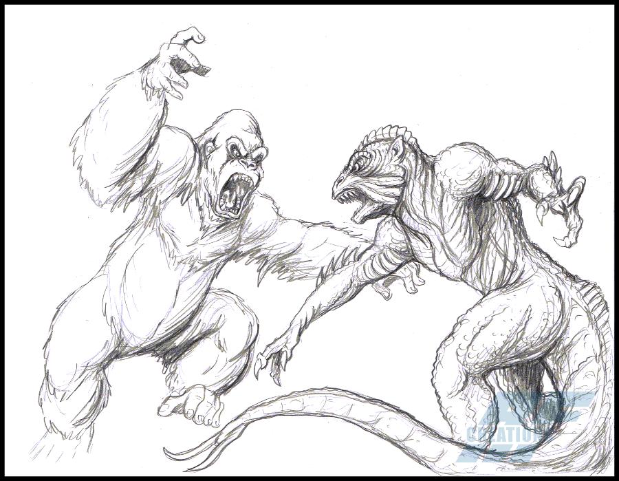 раскраска горилла с динозавром прежде