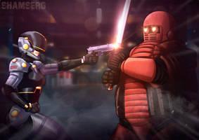 [COM] Lady Battle Cop vs Mikadroid by shamserg