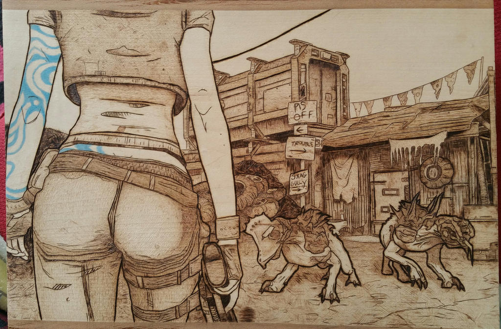 Borderlands fan art wood burning by bchuckry on deviantart