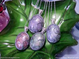 Ornate Polymer Clay Faux Opal Pendants by JSmallDragon