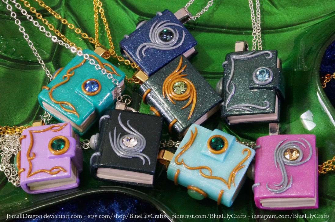 Book Pendants - Now Available in Light Purple by JSmallDragon