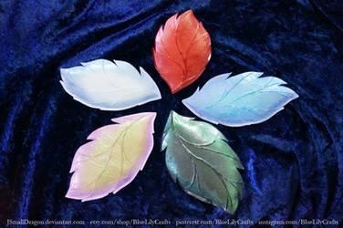 Polymer Clay Leaf Plates by JSmallDragon