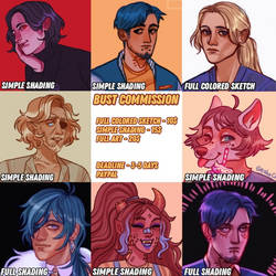 Bust commissions open! (10$-20$) by GeshaCheArt